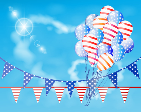 American flag is the US Independence Day. Balloons and festive flags against the blue sky. Illustration, vector for your design