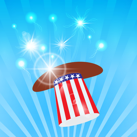 Hat with American flag design. Illustration for American Independence day.