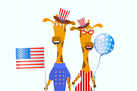 The Patriot THE GIRL AND THE BOY In a hat and with a flag. CHILDRENS ILLUSTRATION. Giraffes.