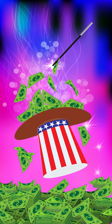 PRESIDENTIAL HATS USA. MAGIC AND MIRACLE. AMERICAN DOLLARS, MONEY. PAPER AND GREEN GETTING STRAIGHT WIZARD. Vertical orientation of the sheet. Illustration