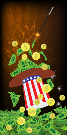 PRESIDENTIAL HATS USA. MAGIC AND MIRACLE. AMERICAN DOLLARS, MONEY. PAPER AND IRON - GOLD COINS KALD WITH WANDERABLE MAGIC. Vertical orientation of the sheet. Illustration