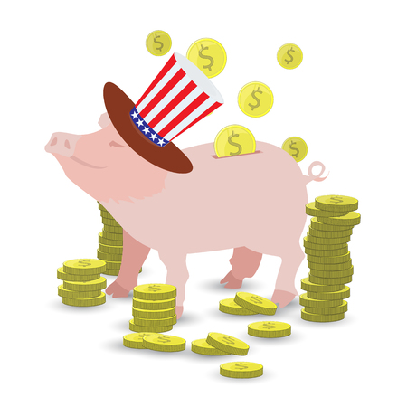 Pig cap in the hat with the flutter of the American flag and a lot of gold coins. MONEY TO PICK UP. Illustration for your design. Illustration