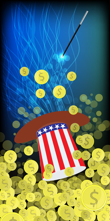 HATS WITH THE COLOR OF THE AMERICAN FLAG. PRESIDENTIAL HATS USA. MAGIC AND MIRACLE. AMERICAN DOLLARS, MONEY. IRON COINS. SHAKE THE WITCH MAGIC. Vertical orientation of the sheet. Illustration