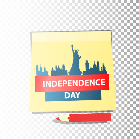 Statue of Liberty, New York and the inscription: Independence Day on a sheet of a notebook with a red pencil. Logotype Illustration