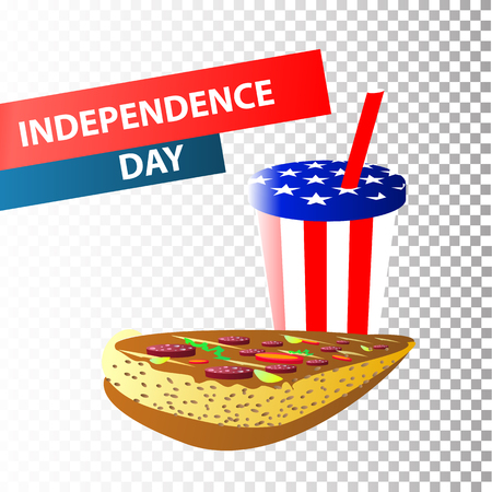 Independence Day United States. Fourth of July. Illustration for your design. Attributes of the holiday with the coloring of the American flag. Pizza and soda in a glass with a straw Illustration