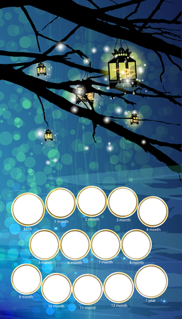 Frame for the child. The first year of life. Vector illustration for your design. Vertical arrangement of the sheet. Lanterns on the tree. Night