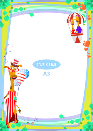 Frame. American day illustration. Independence Day. American flag. For the design. vector. Vertical orientation. Giraffes in a hot air balloon
