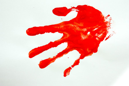 a crime. murder. Hand imprint. Photo for your design