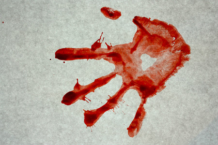 Bloody prints on a gray background. arm. Photo for your design Stock Photo - 80038407