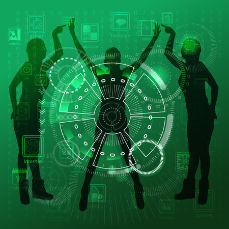 pressing: The concept of technology in one click, touch pressing to control the gadgets circle. On a green background girls three hold their fingers and hands up. Illustration, vector for your design