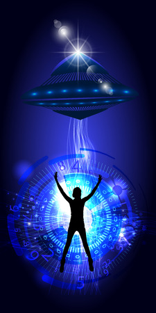 The kidnapping of a person by UFO. Vector illustration for your design Illustration