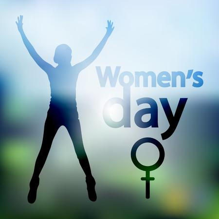 International Womens Day. Illustration, vector for your design. Logo. On a background of a photo. Woman hands up. Venus mirror is a symbol.