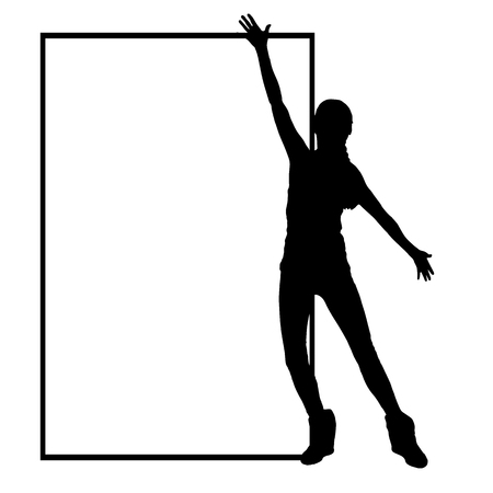 girl in full growth: International Womens Day. Illustration, vector for your design. Silhouette girl one at the frame. The arms are divorced up and down. Place under your text