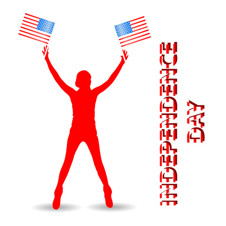 Independence Day United States. The girl is silhouetted. Hold in hand two American flag. On white background. Illustration for your design.