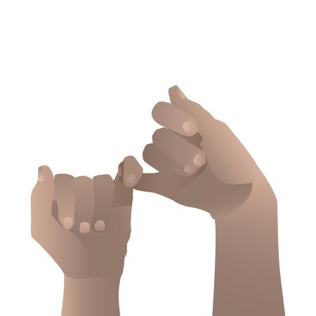 Hand zu Hand. Versöhnung kindisch. Weißer Hintergrund. Illustration für Ihr Design Standard-Bild - 80338768