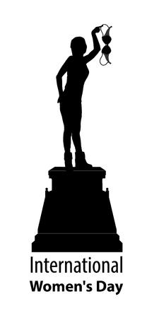 Internationale Vrouwendag. feminisme. Meisjessilhouetten op een voetstuk - standbeeld met een symbool van feminisme. BH in de hand. Op witte achtergrond Illustratie voor uw ontwerp.