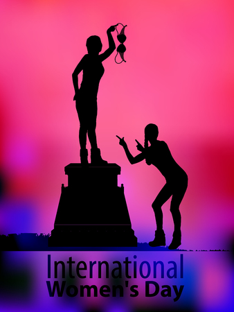 International Womens Day. feminism. Two girls are silhouetted. With the symbol of feminism. Bra in hand. Against the background of sunset. Illustration for your design. Illustration