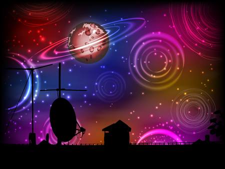 The roof of the house is silhouetted with an antenna and a plate and the sky with planets. Illustration for your design.