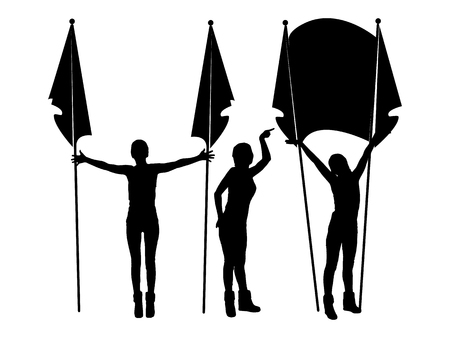 Parade with flags. Logo. The female silhouette. Illustration for your design. Illustration