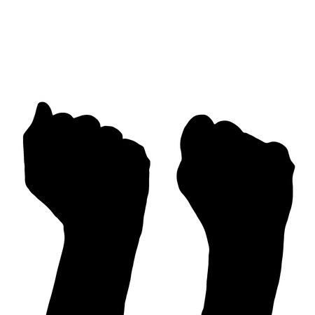 sexes: The concept of political struggle. Hands in the form of a fist. Illustration for your design.