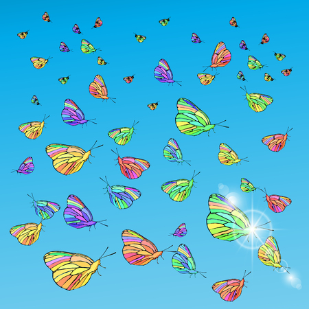 Butterflies in the sky. Concept of freedom. Illustration for your design.