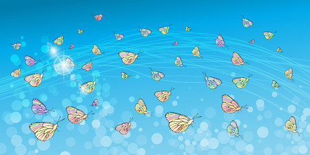 Butterflies in the sky. Concept of lightness and airiness. Horizontal orientation of the sheet. Illustration for your design.