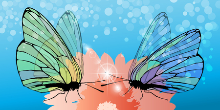 Butterflies collect pollen from the flower Illustration