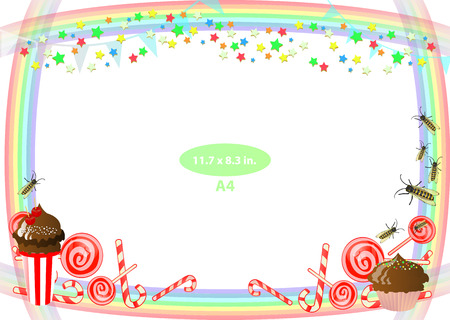 photo album: Frame. Child. Bees and sweet. Horizontal orientation. Illustration for your design