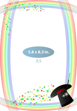 Frame. Vertical orientation. Child. A rainbow, a sorcerers sneak and a sweet one. Illustration for your design