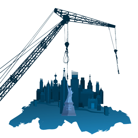 Concept of construction of the city. NY. Illustration on isolated background. Vector for your design. Decoration for your design. Stock Illustratie