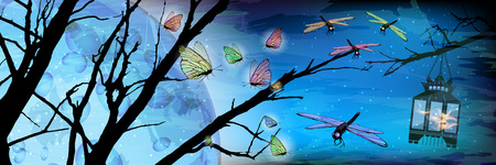 Ramadan Karem beautiful illustration. Lanterns and butterflies against the background of the night sky. Vector for your design. Ilustração
