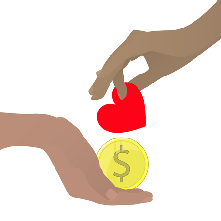 Prostitution concept. Hand with a heart and a gold coin. Vector illustration for your design. On white background. Illustration