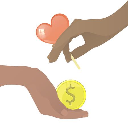 prostituta: Concepto de prostitución. Mano con caramelo en forma de corazón y una moneda. Ilustración del vector para su diseño. En el fondo blanco. Vectores