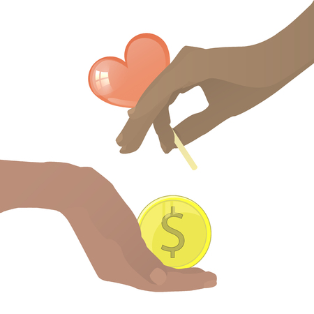 Prostitution concept. Hand with caramel in the shape of a heart and a coin. Vector illustration for your design. On white background. Illustration