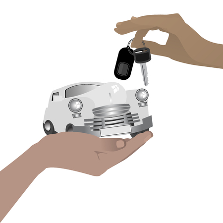 Purchase car sale concept. Hand with a car and keys. Vector illustration for your design. On white background.