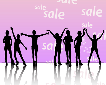 Purchase concept.sale sale and discount womens clothing. Silhouettes of girls, mannequins. Vector illustration for your design. On white background.