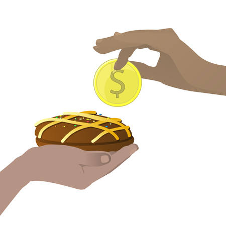 Buy concept. buffet. Tasty and sweet. Hands holding a coin and a chocolate cake. Vector illustration for your design. On white background. Illustration