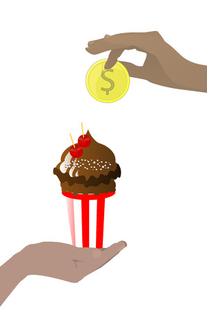 Baby food concept. Tasty and sweet. Hands to hold a coin and cake. Vector illustration for your design. On white background.