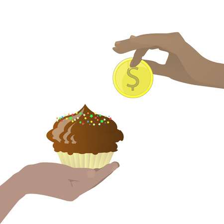 Diet food concept. Delicious is expensive. Hands to hold a coin and cake. Vector illustration for your design. On white background. Illustration