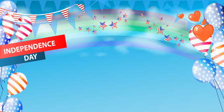 rainbow sky: Banner the US independence day with a place under the text. With balloons, the color of the American flag with a rainbow. Horizontal orientation. Vector illustration for your design. Against the sky. Illustration