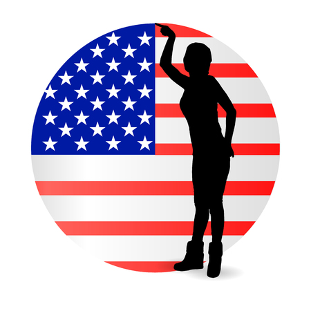 Independence Day United States. The concept of patriotism. The girl is silhouetted against the background of the america flag in the shape of a circle. The fourth of July. Illustration