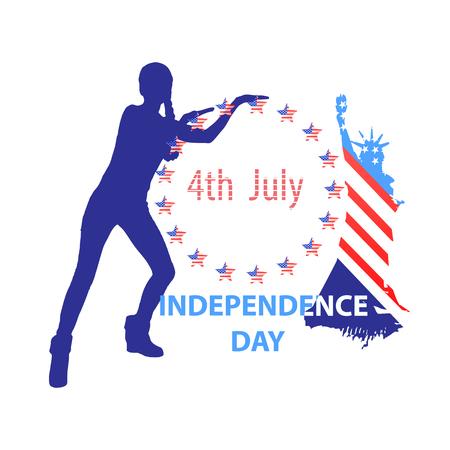 Unabhängigkeitstag Vereinigte Staaten. Konzept eines Feiertags. Mädchenschattenbild, das auf die amerikanische Flagge und den Freiheitsstatuen zeigt. Der vierte Juli. Illustration für Ihr Design. Vektor. Standard-Bild - 80904263