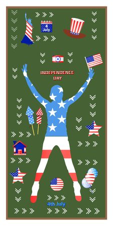 Independence Day United States. The fourth of July. The girl is silhouetted. Symbolism of america. Hat, a camera, fireworks and rockets. Illustration for your design. vector.