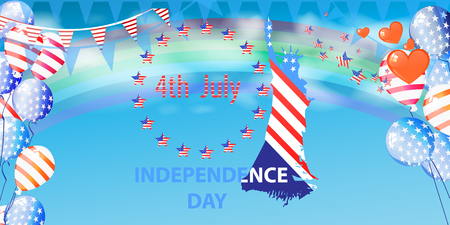 Independence Day United States. The fourth of July. The sky with clouds and balloons flying up. A statue of liberty and an inscription. Illustration for your design. vector. Horizontal orientation Illustration