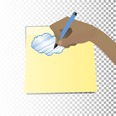 Its cloudy. Concept of weather forecast. The hand is writing a marker on the sticker of the cloud. Illustration for your design.