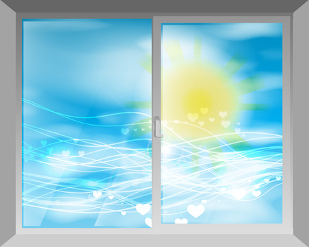The sky and the sun. View through the window. Concept of peace. Illustration for your design.