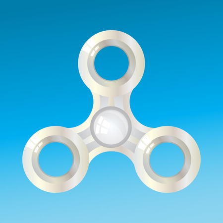 rotated: Spinner metal rotated. volume. With highlights on a blue sky background. Illustration for your design.