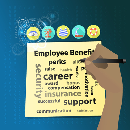 Employee Benefits. The hand is writing on a yellow sticker. Icons for the sea. Illustration for your design