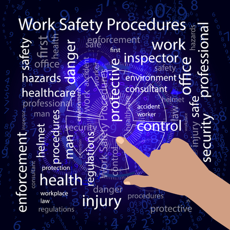 Work Safety Procedures concept. Vector illustration for your design. Text on a blue background. Hand points to.
