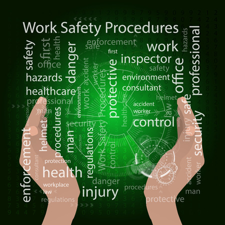 The concept of work safety procedures. Vector illustration for your design. Text on a blue background. Hands hug and save text